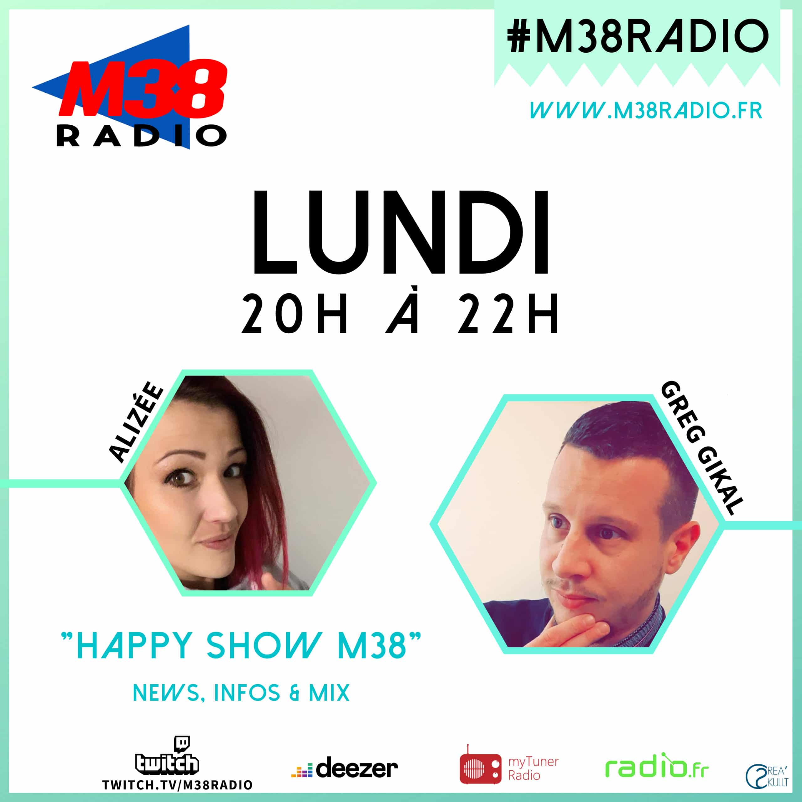 greg gikal, alyzée, happy show, m38 radio